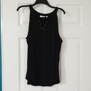 New York and Co. Black Lace Up Tank Top